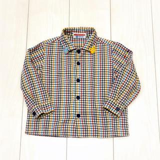 ミキハウス(mikihouse)のミキハウス◆チェック シャツ 90 ネルシャツ クマさん ロゴ 刺繍 美品(ブラウス)
