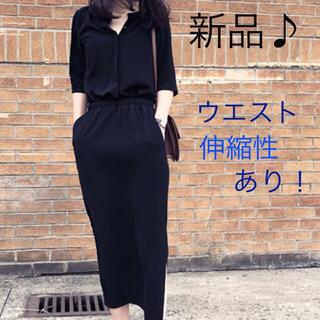 【キレカジ♪】抜襟風 ハイウエスト シャツワンピ(ロングワンピース/マキシワンピース)
