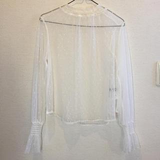ダブルクローゼット(w closet)の白レースのブラウス(シャツ/ブラウス(長袖/七分))