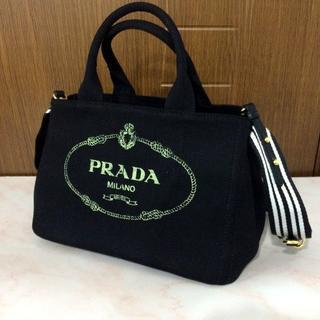 PRADA - PRADA ブラック カナパ ミニ Sサイズ ストライプ