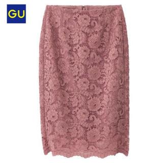 ジーユー(GU)の新品タグ付 L 11ピンク GU レースタイトスカート (ひざ丈スカート)