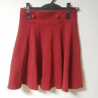 シマムラ(しまむら)の新品タグつき レッド 赤 レトロ フレアスカート (ひざ丈スカート)