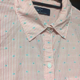 ギャップ(GAP)のGAP ストライプドットシャツ ピンク  (シャツ/ブラウス(長袖/七分))