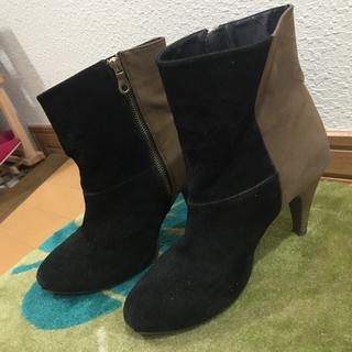 バイカラー ショートブーツ ブラック ブラウン(ブーツ)
