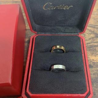 カルティエ(Cartier)のk18 WG PG カルティエ ミニラブリング 1P ダイヤ 2セット(リング(指輪))