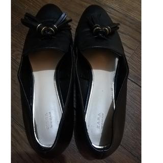 ザラウーマン ZARA WOMAN 黒 オペラシューズ(ローファー/革靴)