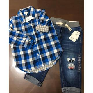 ギャップ(GAP)のGAP チェックシャツ 100、デニムパンツ 95 2点セット(Tシャツ/カットソー)