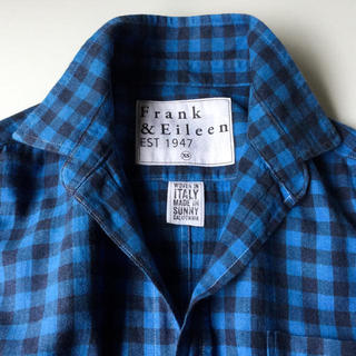 【フランク&アイリーン】 定番 青いギンガムのフランネルシャツ XS L相当