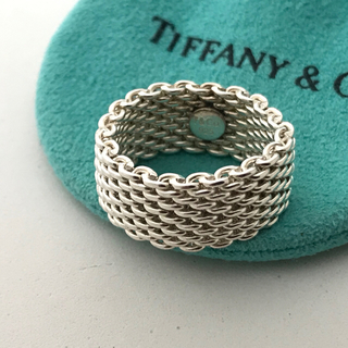 ティファニー(Tiffany & Co.)のTiffany メッシュ+バンドウィズ+ オープンハート3点セット(リング(指輪))