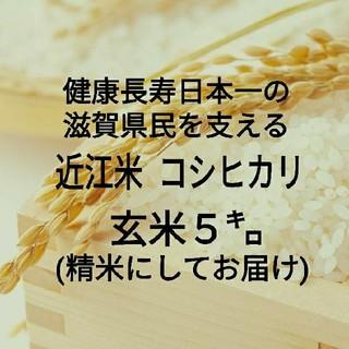 健康長寿日本一☆近江米コシヒカリ☆玄米5kg(精米してお届け)☆令和元年産