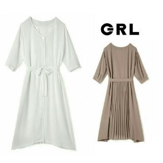 GRL - 新作新品  GRL  バック プリーツワンピース  ホワイト