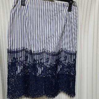 ニーナミュウ(Nina mew)のニーナミュウ ストライプレースタイトスカート(ひざ丈スカート)