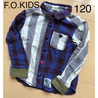 F.O.KIDS - F.O.KIDS 長袖 シャツ 120 チェック ストライプ ブルー系