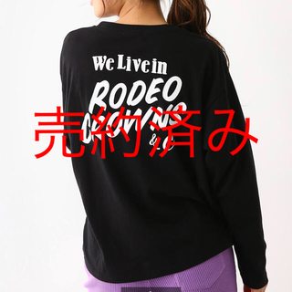 ロデオクラウンズワイドボウル(RODEO CROWNS WIDE BOWL)のロデオ★ニットポケット ロングスリーブ Tシャツ/黒(Tシャツ/カットソー(七分/長袖))