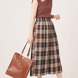 ナチュラルクチュール(natural couture)のチェックプリーツスカート【2019AW natural couture】(ロングスカート)