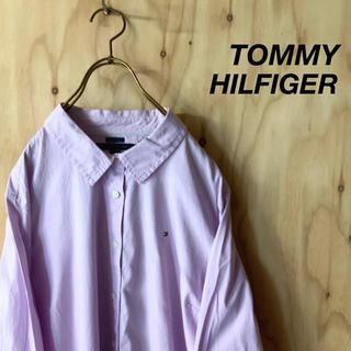 トミーヒルフィガー(TOMMY HILFIGER)の【美品】TOMMY HILFIGER  ストライプシャツ パープル XL(シャツ)