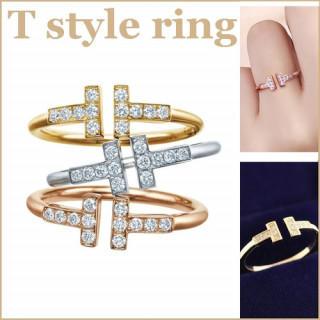ゴールド レディース ジルコニア CZ ダイヤ リング 指輪  T字 シンプル (リング(指輪))