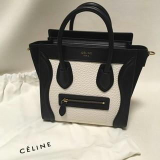 celine - CELINE セリーヌ ラゲージ マイクロショッパー 白黒バイカラー