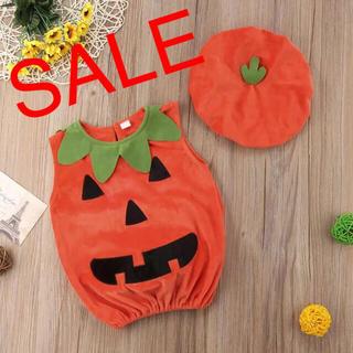 ハロウィン かぼちゃ コスプレ ベビー ロンパース 帽子付き 仮装 コスプレ
