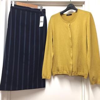 ジーユー(GU)のコーデ売り▷ニットカーディガン&ストライプナロースカート*きれいめ・コンサバ(ひざ丈スカート)