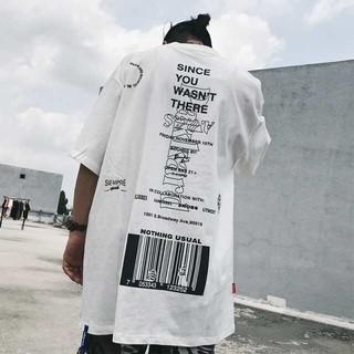 バーコード Tシャツ バックプリント ビックシルエット ホワイト(Tシャツ/カットソー(半袖/袖なし))