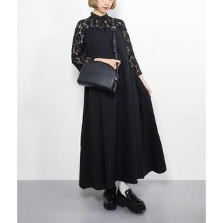 メルロー(merlot)のバックリボン デコルテレース ドレス ワンピース merlot plus(ロングドレス)
