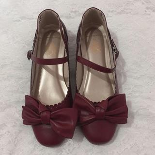 メリージェニー(merry jenny)のBacioBouquet リボンパンプス レッド(ローファー/革靴)