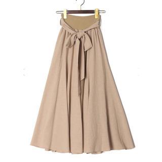 SCOT CLUB - 【新品未使用】MONiLE ベージュ 麻タッチベルト付ロングスカート リボン