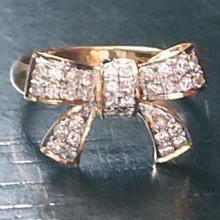 K18  ダイヤモンド  リング  リボン モチーフ ダイヤ(リング(指輪))