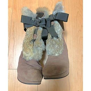 ストロベリーフィールズ(STRAWBERRY-FIELDS)のSTRAWBERRY FIELDS ラビットファーブーツ(23.0cm)(ブーツ)