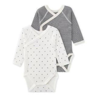 プチバトー(PETIT BATEAU)の新品未使用 プチバトー 新生児サイズ 46cm 長袖前合わせボディ肌着 男女兼用(肌着/下着)