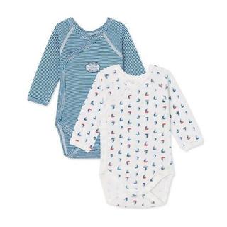 プチバトー(PETIT BATEAU)の新品未使用 プチバトー 新生児 46cm 長袖前合わせボディ肌着 ブルー 青(肌着/下着)