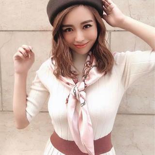 eimy istoire - スカーフ付きリブニットワンピース ピンク 美品 エイミーイストワール
