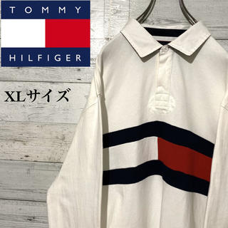 トミーヒルフィガー(TOMMY HILFIGER)の【レア】トミーヒルフィガー☆ビッグロゴ フラッグロゴ ビッグサイズ ラガーシャツ(ポロシャツ)