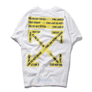 オフホワイト(OFF-WHITE)のOFF WHITE オフホワイト Tシャツ 白 半袖 警告デザイン サイズXL(Tシャツ/カットソー(半袖/袖なし))