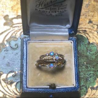 agete - vintage k18イエローゴールド オパール&ダイヤモンド リング
