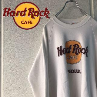 USA製 人気のホワイト! オリジナルタグ ハードロックカフェ ビックロゴ(スウェット)