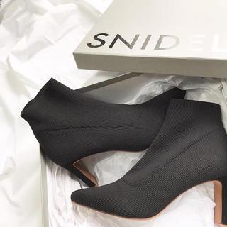 スナイデル(snidel)の新品未使用箱付き ニットショートブーツ(ブーツ)