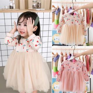 韓国子供服 さくらんぼふんわりスカート(ワンピース)