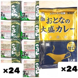 無菌パックごはん 200g×24個 / おとなの大盛カレー甘口 250g×24袋