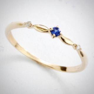 リング★サファイア k10 箱 タグ付 ダイヤモンド スタック ゴールド(リング(指輪))