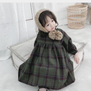 韓国子供服 チェックワンピース(ワンピース)