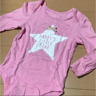 ベビーギャップ(babyGAP)のbabyGap ピンクのロゴロンパース 80cm(ロンパース)