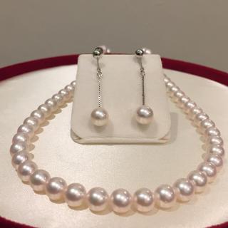 【花珠 級】あこや真珠 ネックレス  イヤリング 19i-119
