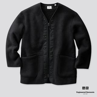 Engineered Garments - エンジニアガーメンツ コラボ フリースノーカラーコート ブラックSize-M