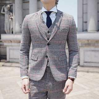 メンズスーツセットアップ チェック柄 レトロ 紳士 zb499(セットアップ)