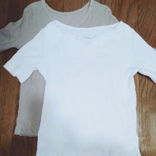 ジーユー(GU)のスラブリブカーディガン、リブキーハートネックT(シャツ/ブラウス(半袖/袖なし))