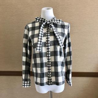 Ray BEAMS - Ray BEAMS ビームス チェックシャツ 胸元リボン グレー サイズ0