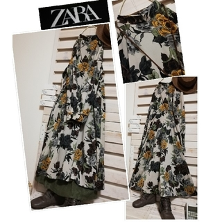 ザラ(ZARA)のZARA/両サイド斜めギャザーがスッキリラインに..こなれ感たっぷりワンピ(ロングワンピース/マキシワンピース)