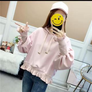 120☆ラスト1枚Lサイズピンク裾フリルリブ袖ガーリーパーカートレーナー(パーカー)